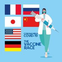das Coronavirus-Impfstoff-Rennen zwischen Ländern vektor