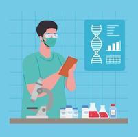 medizinische Impfstoffforschung für Coronavirus mit Arzt im Labor vektor