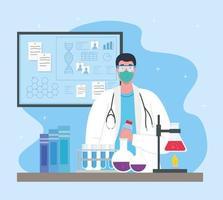 medicinsk vaccinforskning för coronavirus med läkare i laboratoriet vektor