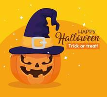 Happy Halloween Banner mit Kürbis mit Hexenhut vektor