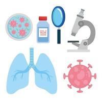 vaccin och forskning ikonuppsättning vektor