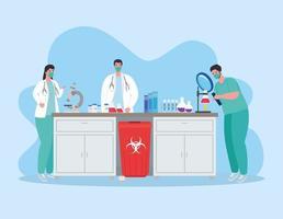 medicinsk vaccinforskning för koronavirus med läkare i laboratoriet vektor