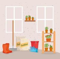 trädgårdsskötsel levererar vektor design