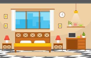 mysigt hotellrum inredning med dubbelsäng och lampor vektor