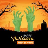 glückliches Halloween-Banner mit Zombiehänden auf dem Friedhof vektor