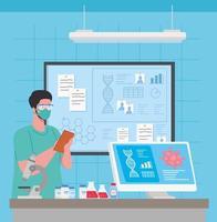 medizinische Impfstoffforschung für Coronavirus mit Arzt im Labor
