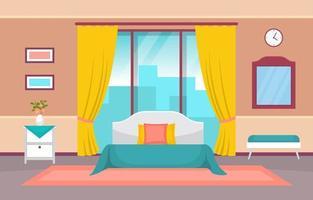 mysigt hotellrum med dubbelsäng och fönster vektor