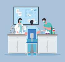 medizinische Impfstoffforschung gegen Coronavirus mit Ärzten im Labor vektor