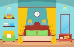 mysig sovrumsinredning med dubbelsäng, lampor och hyllor vektor