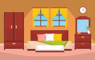 gemütliches Schlafzimmer Interieur mit Doppelbett und Regalen vektor