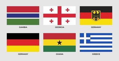 Flagge von Gambia, Georgia, Deutschland, Ghana, Griechenland vektor