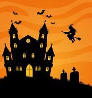 Happy Halloween Banner mit Spukhaus, Fledermäusen und Hexen fliegen vektor