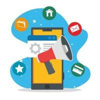 Social Media Icons mit Smartphone