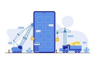 tunga lastbilar och kranar som bygger mobilapp på smartphone platt illustration