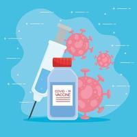 Impfstoff Coronavirus, Fläschchen und Spritze gegen Coronavirus vektor