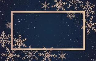 Grußkartenschablone der Wintersaison mit goldenem Rahmen und Schneeflocken vektor