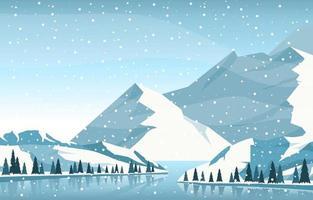 verschneite Winterlandschaft mit Bäumen, zugefrorenem See und Bergen vektor