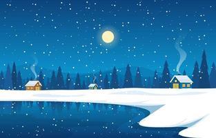 mysig vinter skog scen med stugor på frysta sjön på natten vektor