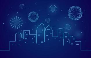 Gott nytt år scen med fyrverkerier över en stiliserad stadssilhuett vektor