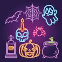 halloween fest neonskylt set vektor