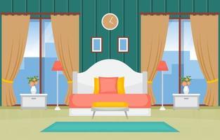 mysigt sovrumsinredning med dubbelsäng och höga fönster vektor