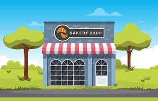 snygg bageributik med träd vektor