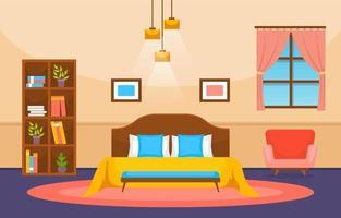 mysig sovrumsinredning med dubbelsäng och lampor vektor