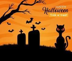 glückliches Halloween-Banner mit schwarzer Katze und Fledermäusen, die im Friedhof fliegen vektor