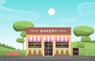 snygg bageributik med träd och bänk vektor