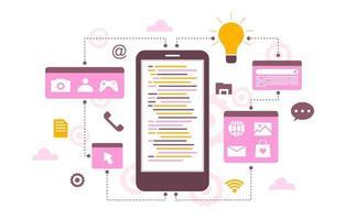smartphone mobil app utvecklingsprocess platt design illustration vektor