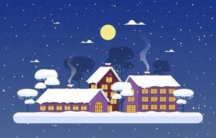 gemütliche schneebedeckte Winterstadtszene mit Bäumen, Häusern und Mond vektor