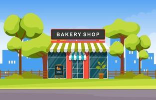 snygg bageributik med träd och skyline vektor