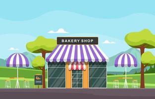 snygg bageributik med träd och sittplatser utomhus vektor