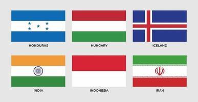 Flagge von Honduras, Ungarn, Island, Indien, Indonesien, Iran, vektor