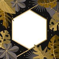 Polygonhintergrundschablone mit dem goldenen Rahmenrahmen der tropischen Blätter vektor