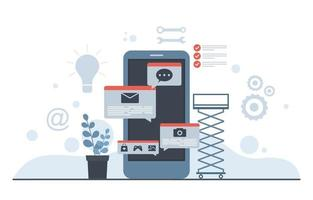 flache Designillustration des mobilen App-Entwicklungsprozesses des Smartphones