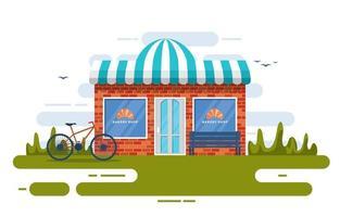schicke Bäckerei mit Bäumen und Fahrrad vektor