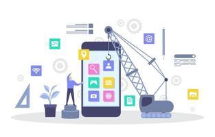Programmierer mit Kran Gebäude mobile App auf Smartphone flache Illustration