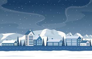 snöig vinterstadsscen med berg, hem och träd vektor