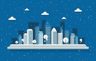 schneebedeckte Skyline der Stadt im Winter vektor