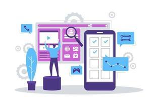 Programmierer, die flache Entwurfsillustration der mobilen App entwickeln