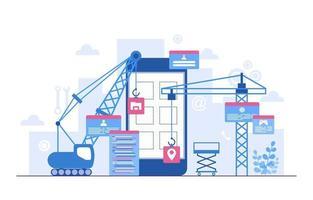 kranar som bygger mobilapp på smartphone platt illustration