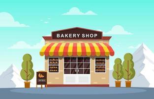 snygg bageributik med bakverk i fönstren vektor