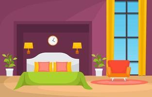 mysig sovrumsinredning med dubbelsäng, fåtölj och fönster vektor