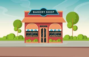 snygg bageributik med bakverk i fönstren på trädkantad gata vektor