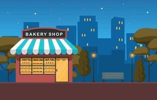 snygg bageributik i stadsparken på natten vektor