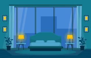 mysigt hotellrum inredning med dubbelsäng och höga fönster vektor