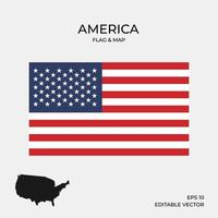 Amerika Karte und Flagge vektor