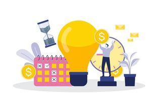 affärsmän som arbetar med tidshantering och illustration av affärsstrategi
