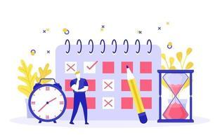 Geschäftsmann, der über Zeitmanagement und Illustration der Geschäftsstrategie nachdenkt vektor